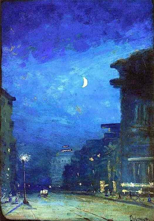 Louis M. Eilshemius (1864 - 1941) City Street In Moonlight