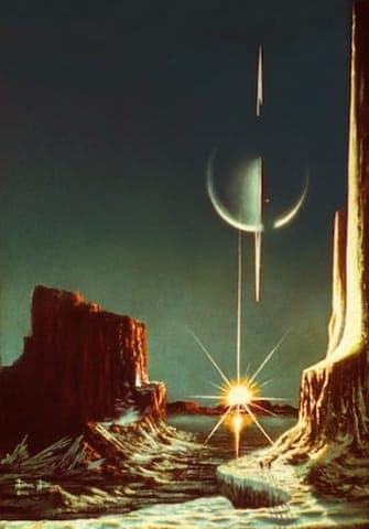 View of Saturn seen from its largest moon Titan. Illustration by Lucien Rudaux (1874-1947)