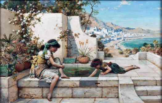 William Stephen Coleman - Summer Reflections (1939). Depicts two young girls sitting and playing in the water of a lily pond in a garden at a villa, against a landscape background of a coastal city. Possibly located on the Mediterranean Sea.