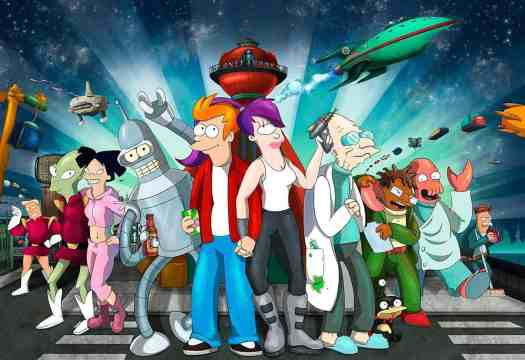 The cast of characters from tV cartoon series Futurama