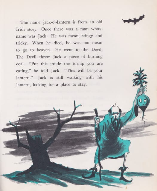 Halloween A Holiday Book by Lillie Patterson, illustrated by Gil Miret (1963) turnip