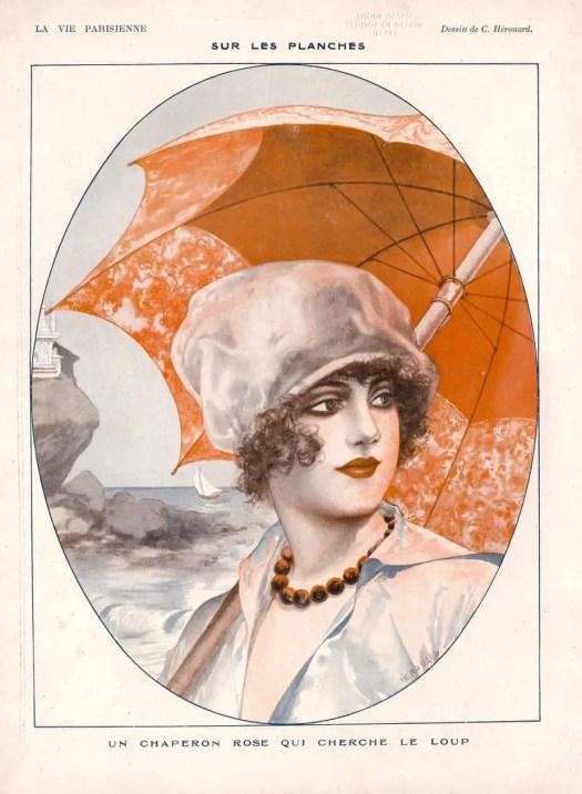 Illustration for the French magazine ′La Vie Parisienne′ by Chéri Hérouard (1881-1961) umbrella