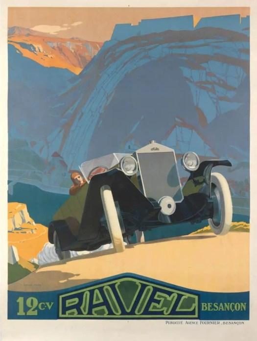Ravel - Swiss Auto Advertisement - art by Lucien Pillot - c 1925