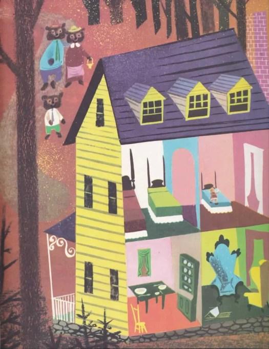 The Big Book of Nursery Tales retold by Evelyn Andreas illustrated by Leonard Weisgard (1954) goldilocks three bears house