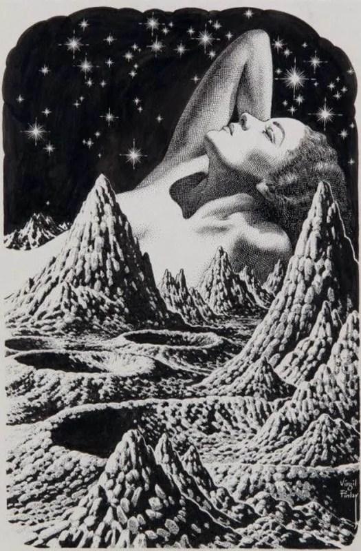Woman in lunar landscape 1955,Virgil Finlay