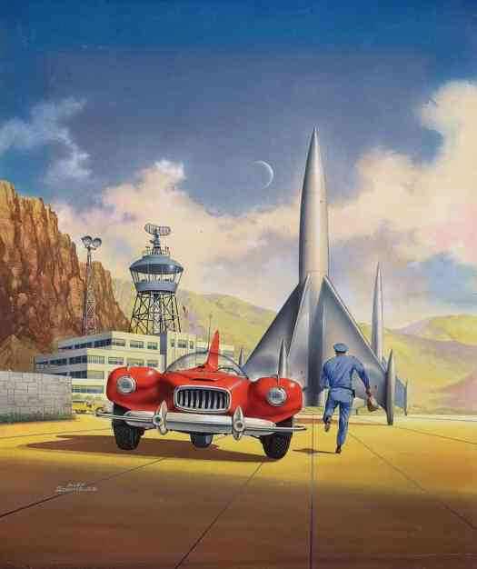 'Rockets To Nowhere' cover illustration by Alex Schomburg, 1954