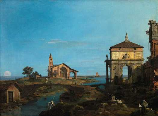 An Island in the Lagoon with a Gateway and a Church, Canaletto, oil on canvas, 1743