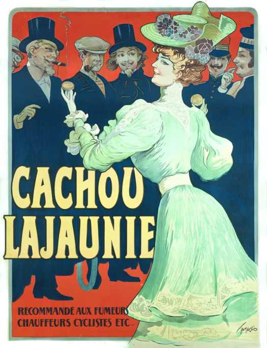 Cachou Lajaunie. Recommended for smokers, drivers, cyclists, 1890. Drawing by Francisco Nicolas Tamagno. What are these things, biscuits? Even other products were helping to sell cigarettes. Come to the other side, where all the dangerous and fun people hang out.