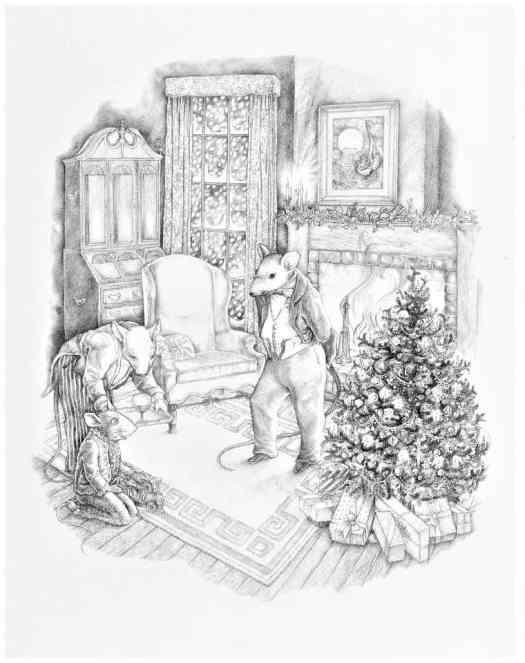 Mayling Mack Holm (b. ca. 1940), At the Rat Household, 1976, illustration for A Forest Christmas ballpoint pen on paper