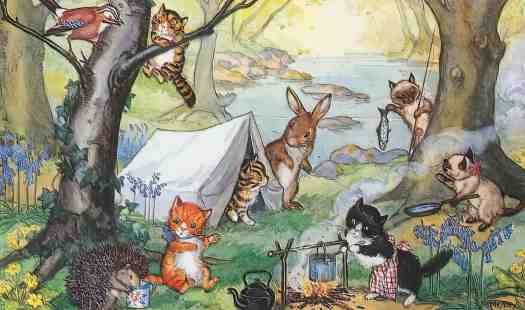 Molly Brett Postcard of cats camping and being visited by a hedgehog, rabbit, and bird