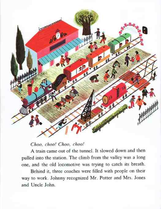 Morning Noises by Alain Grée, Wonder Books, Inc. 1962 train platform
