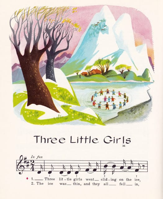 Music Round the Town edited by Max T. Krone, Irving Wolfe, Beatrice Perham Krone & Margaret Fullerton, illustrated by Val Samuelson (1963) Three Little Girls lake