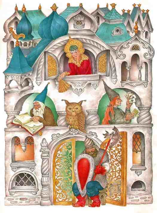 Stanislav Kovalev - Finist Yasny Sokol. This is an illustration of a house, but it's also a highly decorative full page in which the house functions equally as a border.