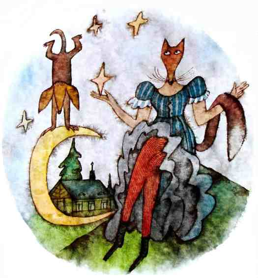 The Cunning Little Vixen by Rudolf Tesnohlidek. This illustration is a good example of how storytellers sometimes pull the moon down from the sky and interact with it as if it were an object on Earth.