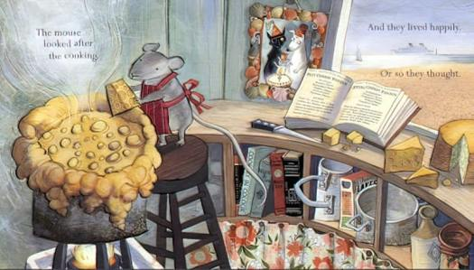 Three By The Sea by Mini Grey. A mouse makes fondue in the kitchen, surrounded by cheese and a cookbook.