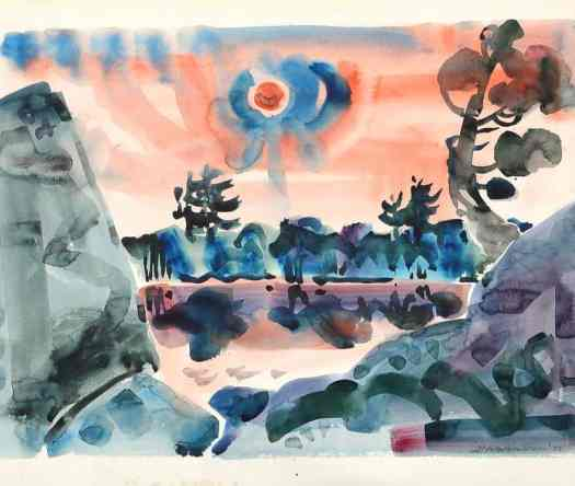 A pinkish red sun with a blue halo above a pink and blue landscape done in a large brush.
