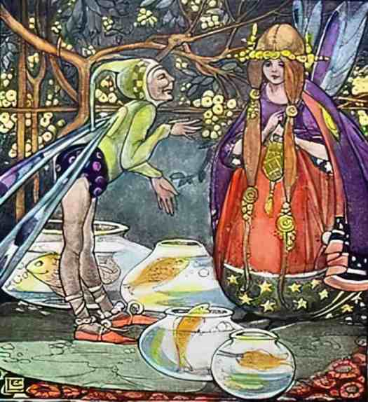 Ethel Larcombe  (1876-1940) Peaseblossom Fairies for the Rose Fyleman poem A Fairy Went A-Marketing fish bowl