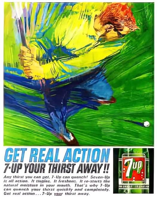 Robert M. Peak (May 30, 1927 – August 1, 1992) 7Up advertisement golf