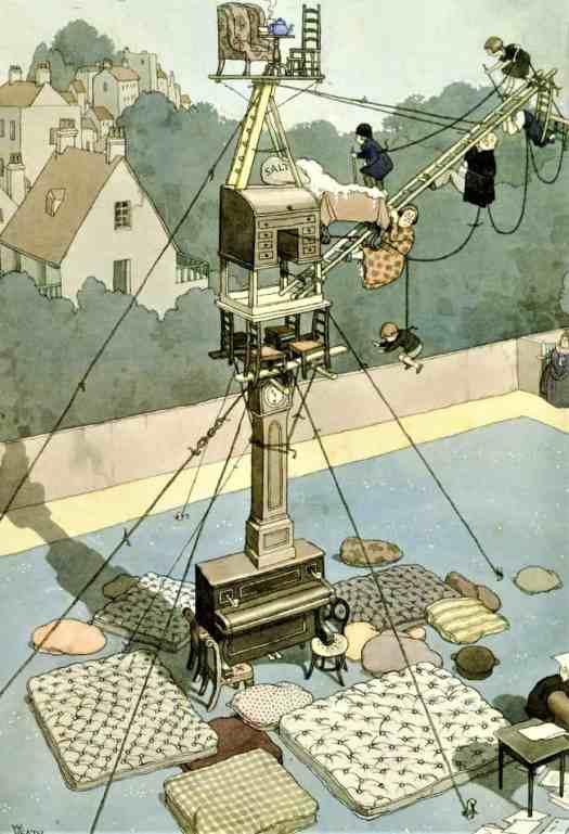 William Heath Robinson (1872 - 1944) 1928 illustration Carrying out the Correspondence Course for Mountain Climbing in the House