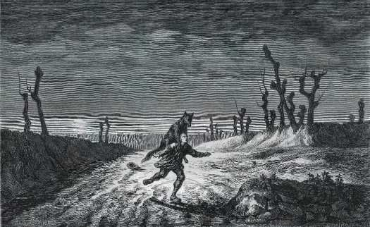 Le loup-garou, drawing by Maurice Sand published in Le Magasin Pittoresque in 1857
