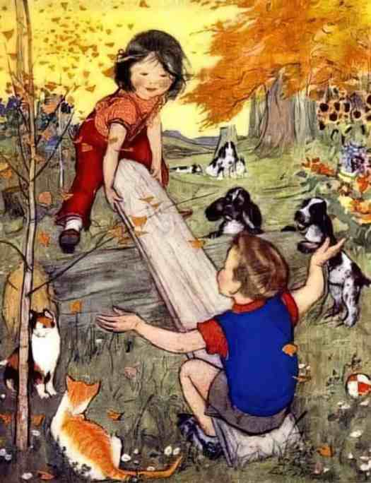 Muriel Helen Dawson from Nursery Rhymes for Children 'See-Saw' 1930s, a New Zealand illustrator