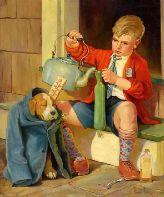 Russell Sambook (1891-1956), American Illustrator. Treating The Pooch