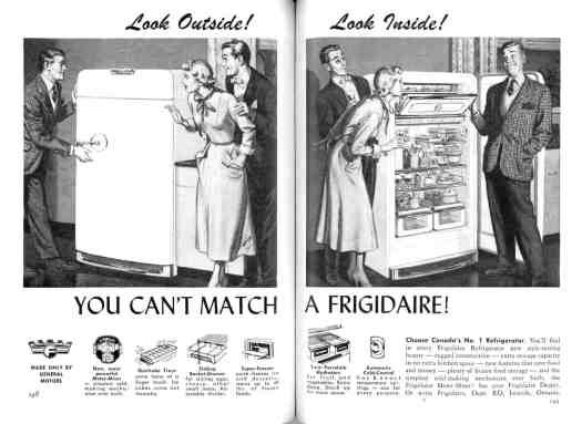 Unattributed illustrations for a Frigidaire advertisement that appeared in the March 1951 issue of Reader's Digest (Canadian edition)