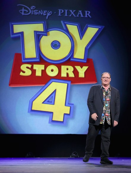 "ANAHEIM, CA - AUGUST 14: Director John Lasseter of TOY STORY 4 took part today in ""Pixar and Walt Disney Animation Studios: The Upcoming Films"" presentation at Disney's D23 EXPO 2015 in Anaheim, Calif. (Photo by Jesse Grant/Getty Images for Disney) *** Local Caption *** John Lasseter"