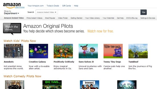 Amazon Original Pilots homepage