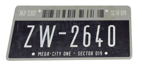 Dredd license plate