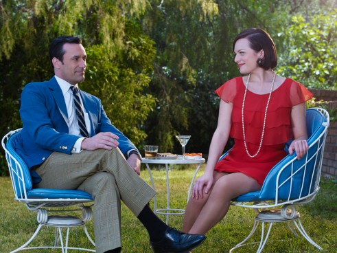 Mad Men Season 7 garden party - Don and Peggy