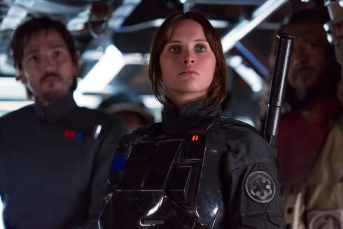 Rogue One A Star Wars Story - Diego Luna as Cassian Andor, Felicity Jones as Jyn Erso, Wen Jiang as Baze Malbus