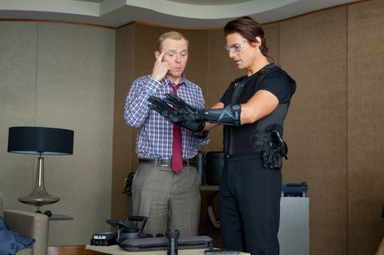Simon Pegg and Tom Cruise in Mission Impossible Ghost Protocol