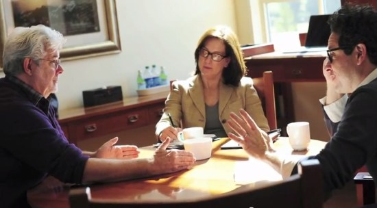 George Lucas, Kathleen Kennedy and JJ Abrams in a Star Wars meeting
