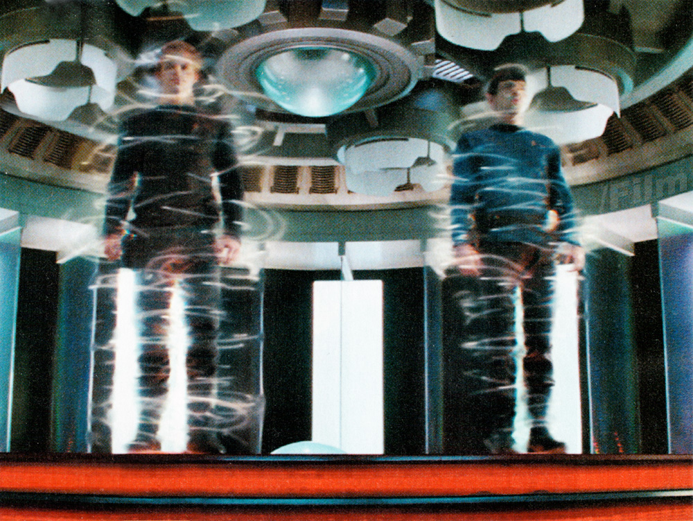 Kirk & Spock appearing in the transporter
