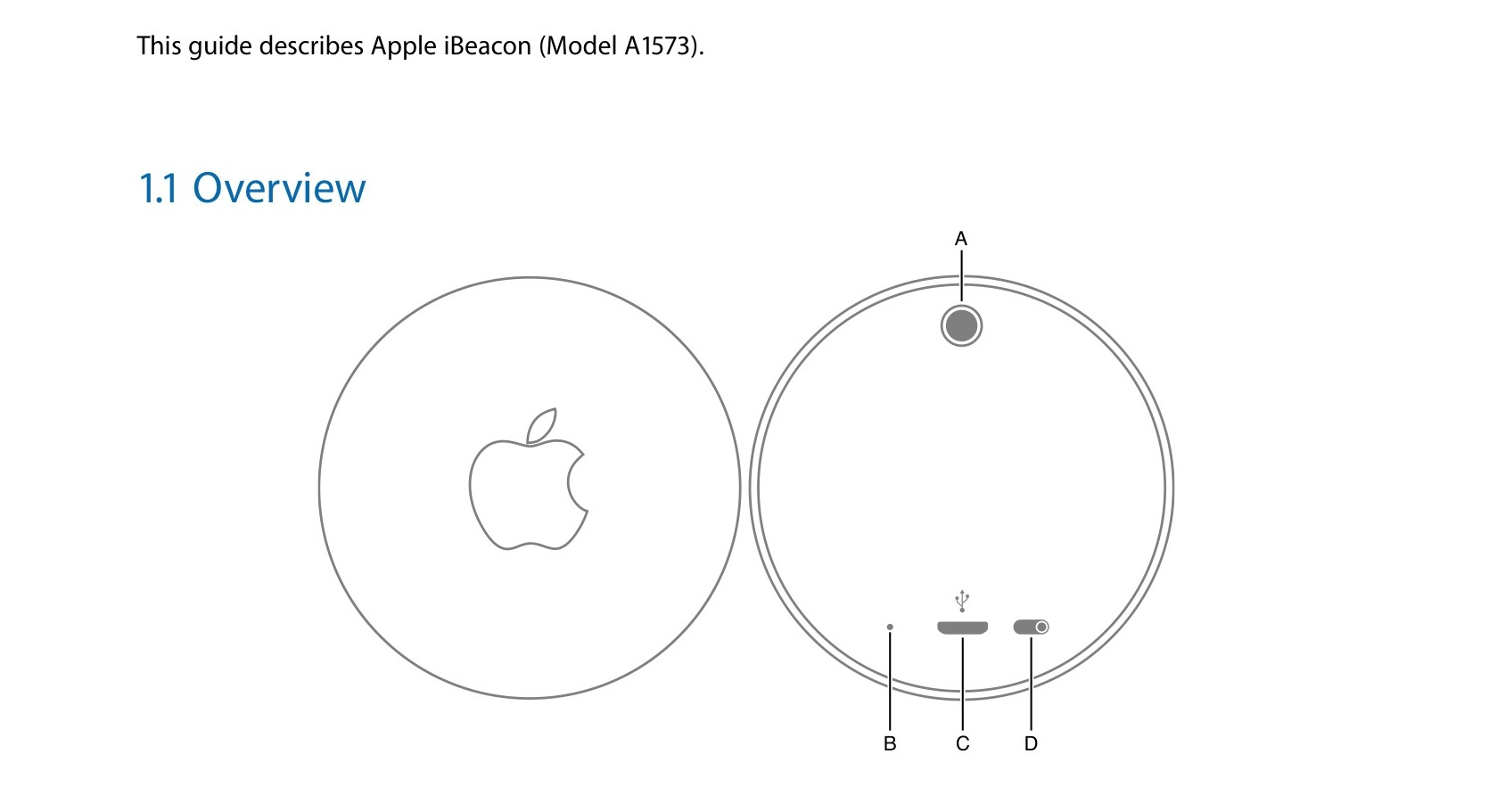 Apple iBeacon puck detailed
