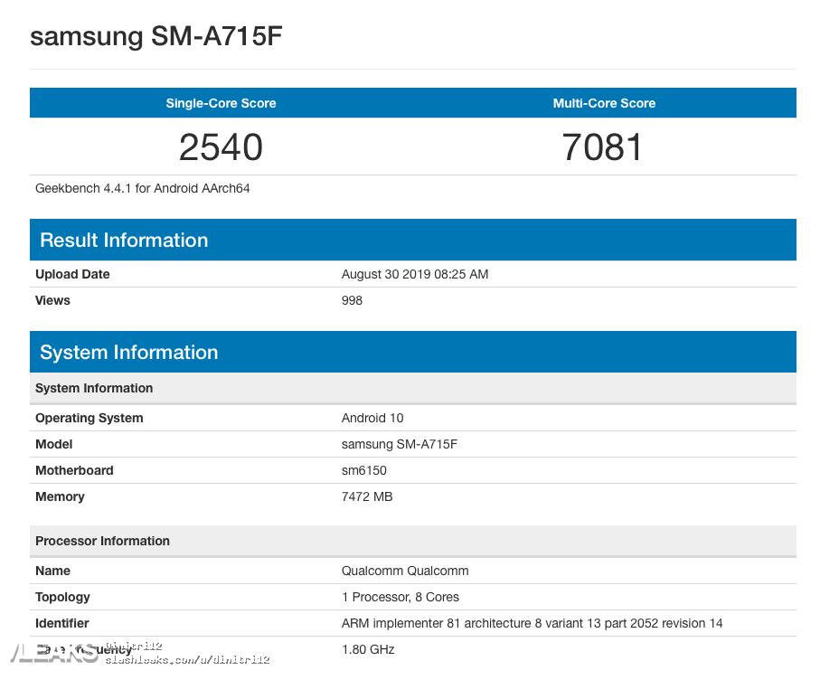 img Samsung Galaxy A71 é comparado com Snapdragon 675 e 8GB RAM