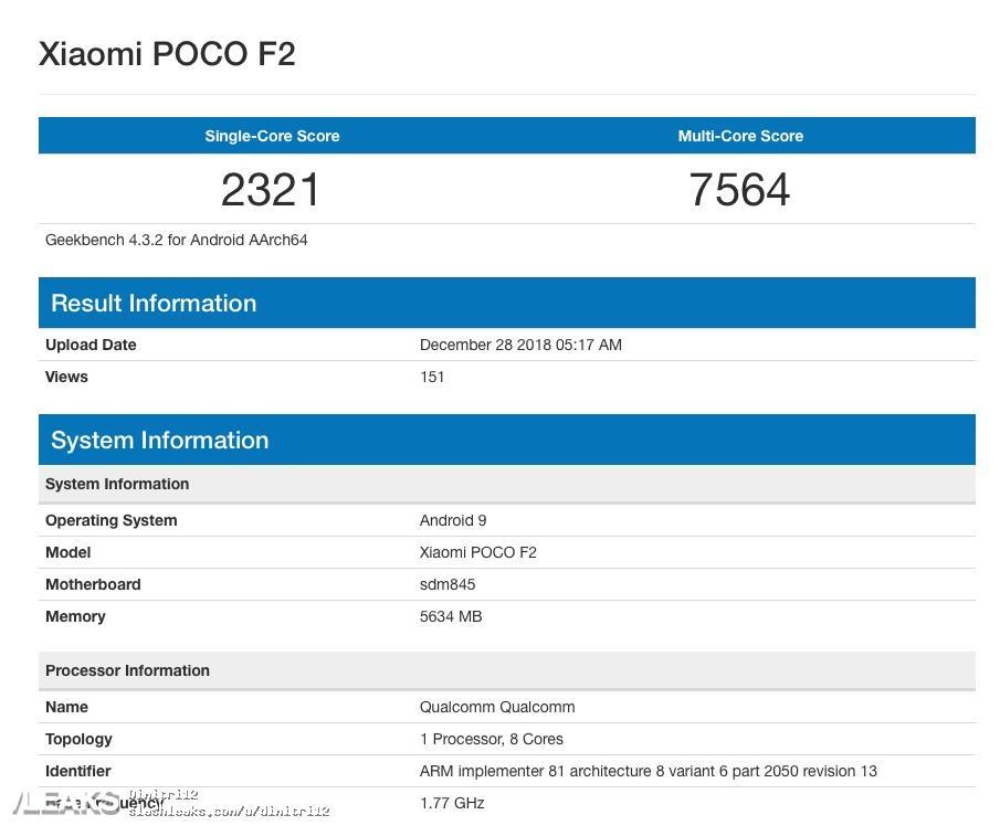 img Xiaomi Poco F2 é aferido com Snapdragon 845 e 6GB de RAM