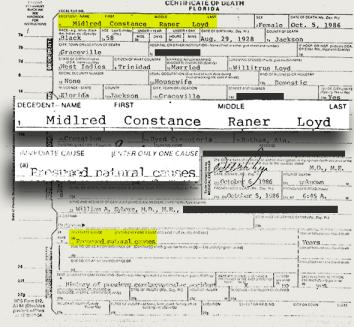 The death certificate for Mildred Markham (aka Mildred Constance Raner Loyd).