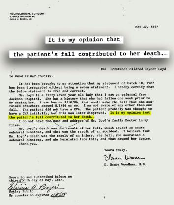 A letter from Dr. D. Bruce Woodham in the medical examiner's file for Mildred Markham (aka Constance Mildred Rayner Loyd).