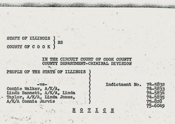 The aliases used in Linda Taylor's Illinois welfare fraud trial.