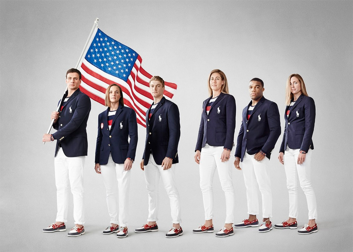 The Team USA opening ceremony uniforms designed by Ralph Lauren.