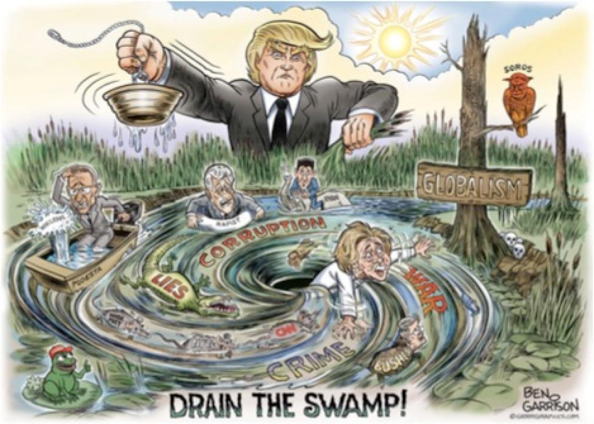 Image result for cartoons branco trump drain the swamp