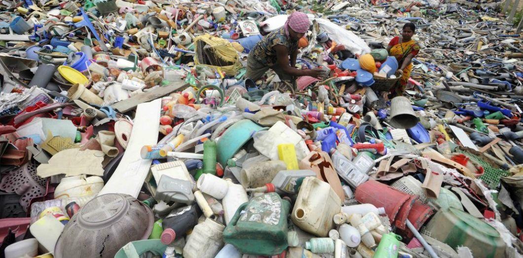 Une station de recyclage plastique en Inde, en juin 2017. Arindam Dey / AFP