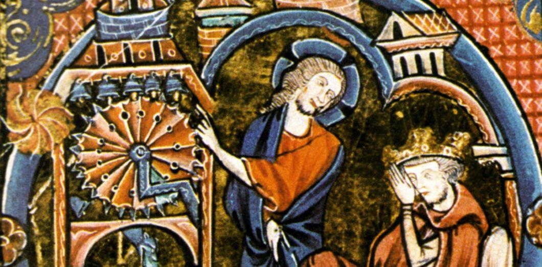 Horloge à eau et tambour hydraulique probable actionnant des clochettes (vers 1250) | Bible moralisée via Wikimedia Commons