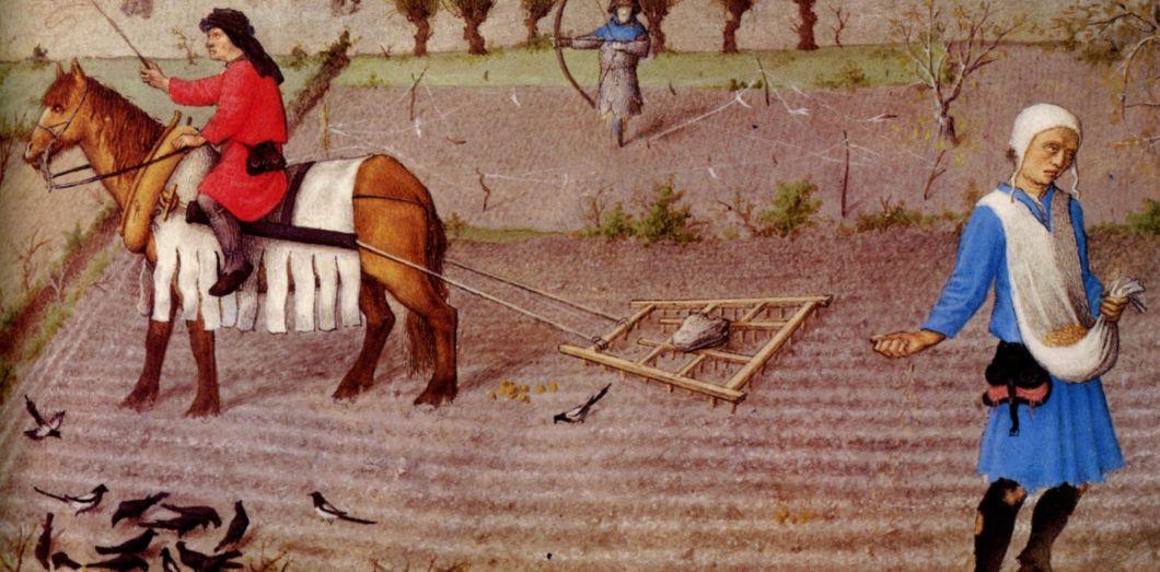 Le mois d'Octobre. Les Très riches heures du duc de Berry, 1412-1416, musée Condé de Chantilly. Détail.