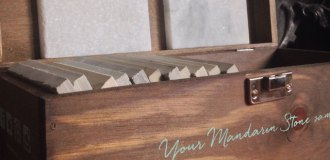 Mandarin Stone tile samples wooden box