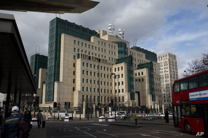 FILE - A general view shows the MI6 building in London, Britain, March 5, 2015.