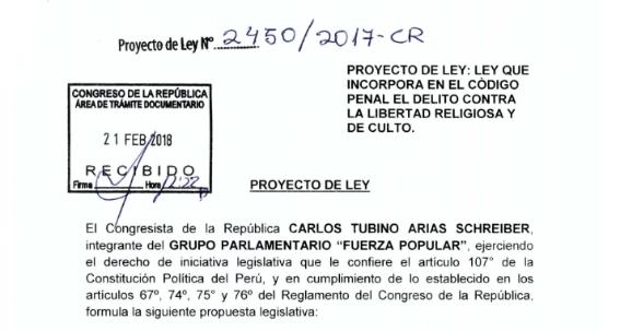 Proyecto de Ley 2450