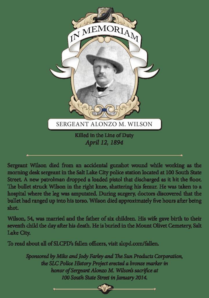 In Memoriam: Sergeant Alonzo M. Wilson (1894)